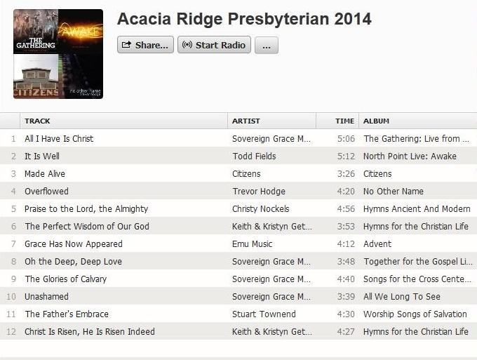 Our Church Song list for 2014